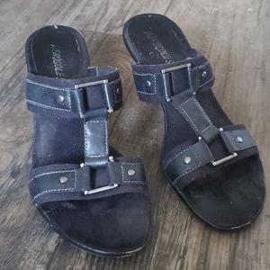 Aerosoles Powever Leather Slip On Heeled Sandals